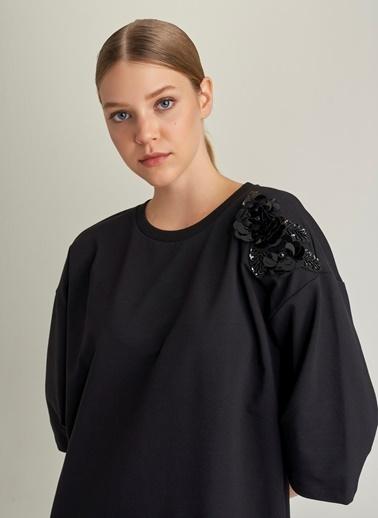 Ng Style Taşlı Kimono Kollu Sweat Elbise Siyah